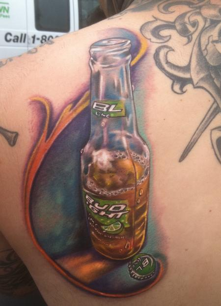 Adorable Blue Red And Black Color Ink Beer Bottle Portrait Tattoo On Back Shoulder For Boys