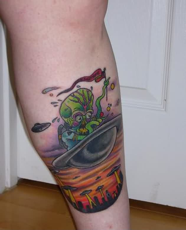 Adorable Green Yellow And Red Color Ink Alien And UFO Tattoo On Leg For Girls