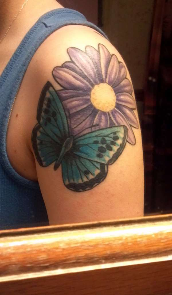 Amazing Black And Blue Color Ink Butterfly and Purple Daisy Tattoo For Girls