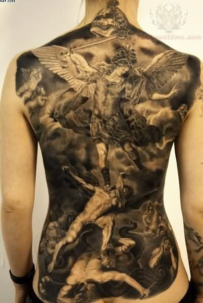 Amazing Black Color Ink Full Back Angel Beat Evils Tattoo On Back For Girls