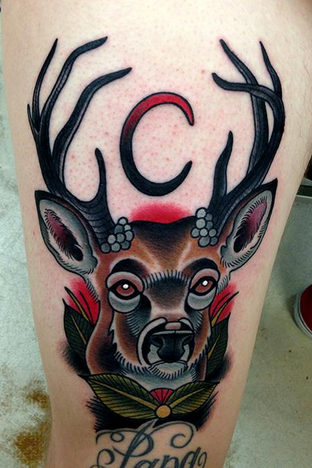 Amazing Blue Black And Red Color Ink Deer Moon Tattoo Design For Girls