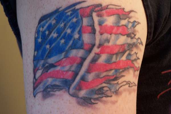 Amazing Blue Black And Red Color Ink USA Flag Tattoo Design On Biceps For Boys
