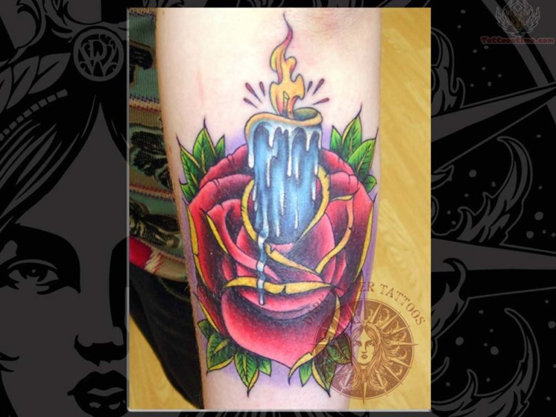 Amazing Green Blue Black And Red Color Ink Rose Candle Tattoo On Arm For Girls