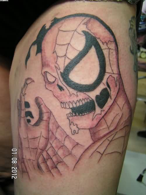 Amazing Spiderman Zombie Tattoo On Thigh