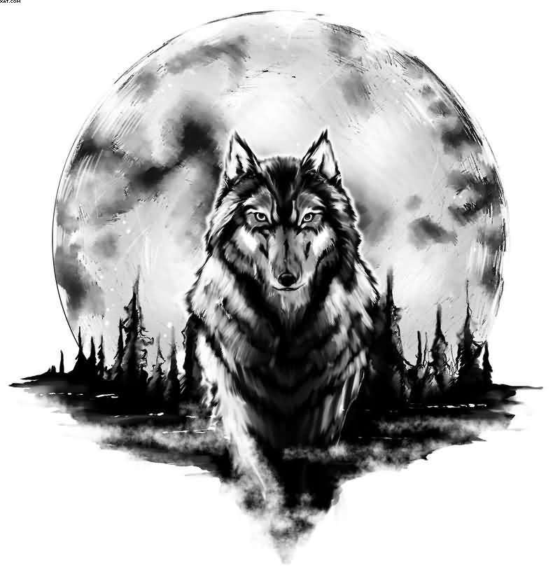 Amazing Wolf Tattoo Design With Moon With Black Ink