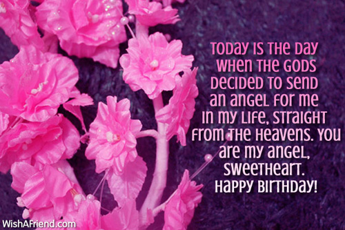An Angel For Me Sweetheart Wife Happy Birthday Quotes