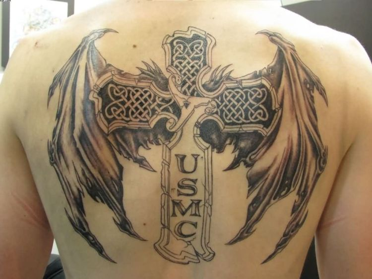 Angel Wings Tattoo Within Cross For Guys With Black Ink