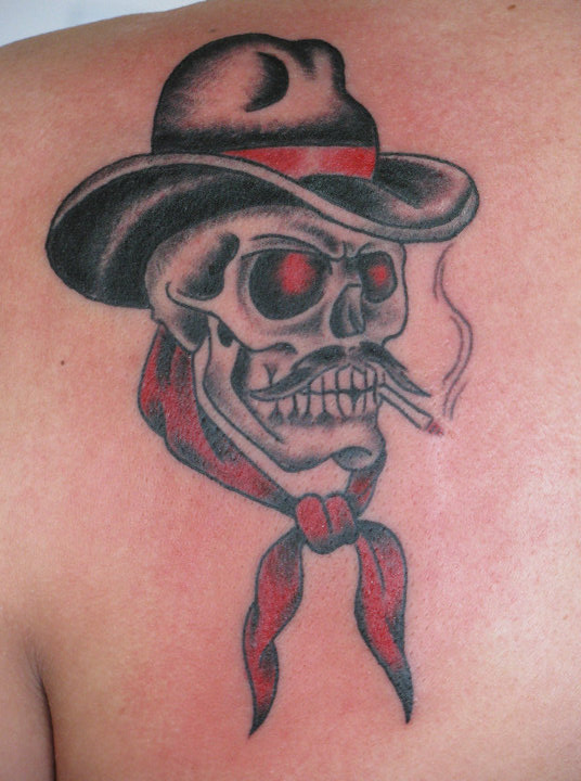Attractive Black And Red Color Ink Cowboy Skull Tattoo On Back For Boys