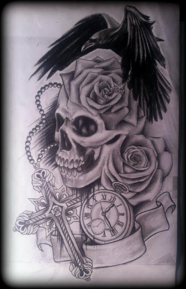 Attractive Black Color Ink Skull Roses Crow Raven Stopwatch Cross Tattoos Sketch For Boys