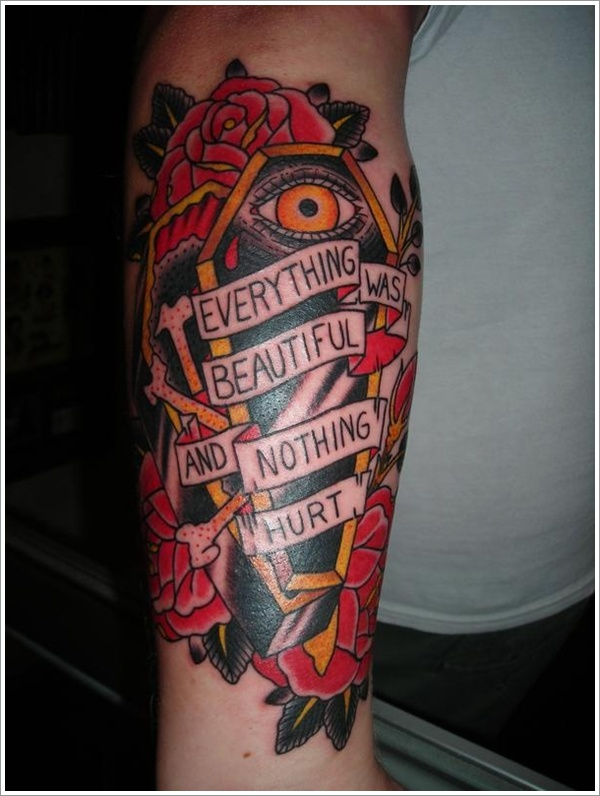 Attractive Green Yellow Black And Red Color Ink Eye Coffin Tattoo Design With Banner On Arm For Girls