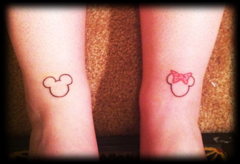 Attractive Red Color Ink Mickey & Minnie Couple Tattoo Design For Couple