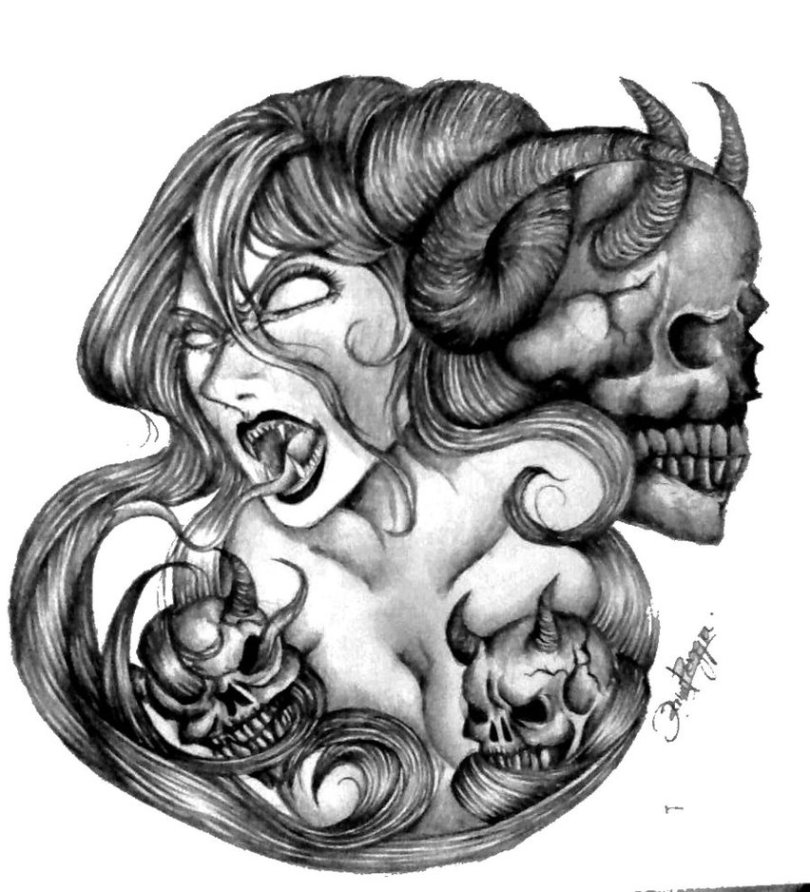 Awesome Black And White Color Demon Woman Tattoo Design For Girls