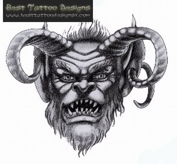 Awesome Black Color Ink Best Devil Tattoo Design For Girls