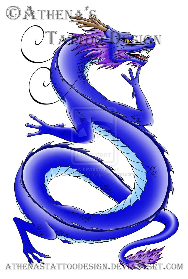 Awesome Blue Color Ink Chinese Dragon Tattoo Design For Girls