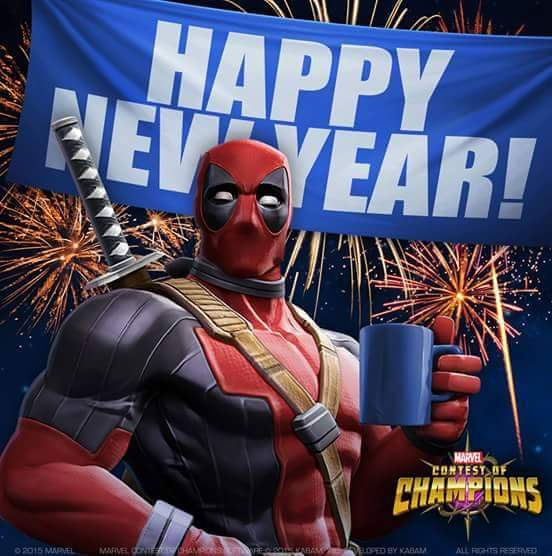 Awesome Dealpool Wishes Happy New Year Wallpaper