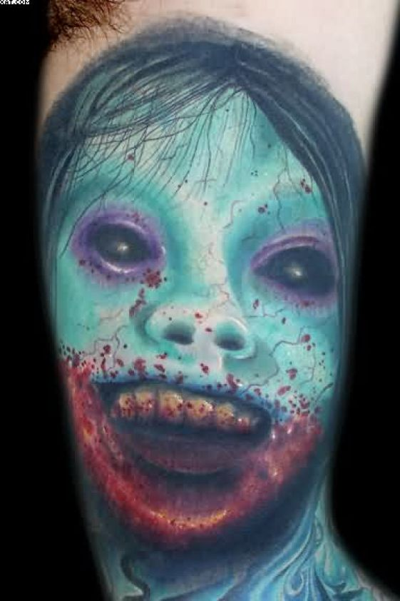 Awesome Zombie Fairy Tattoo With Blue Ink