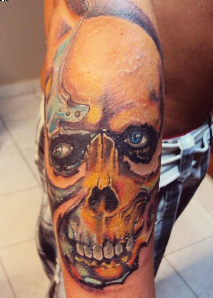 Awesome Zombie Skull Tattoo On The Arm With Colorful Ink