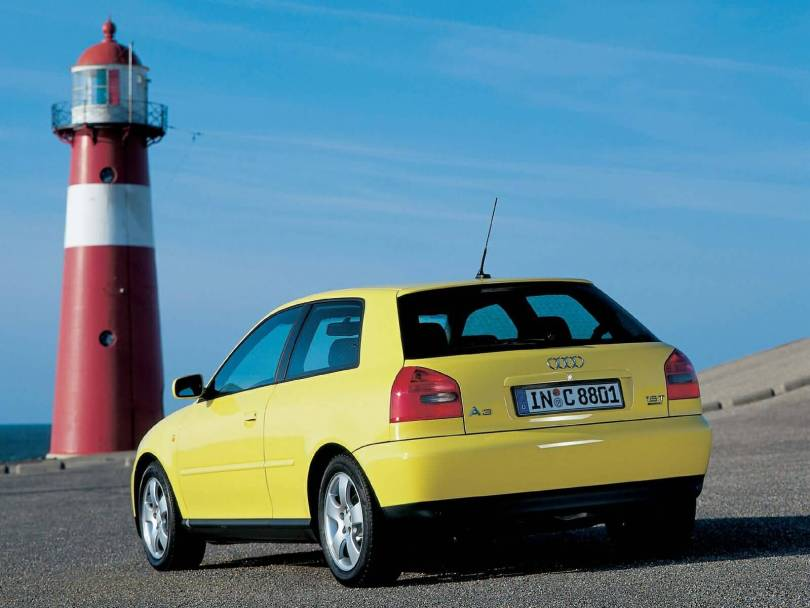 Back Side View Od Yellow Lovely Audi A3 Car