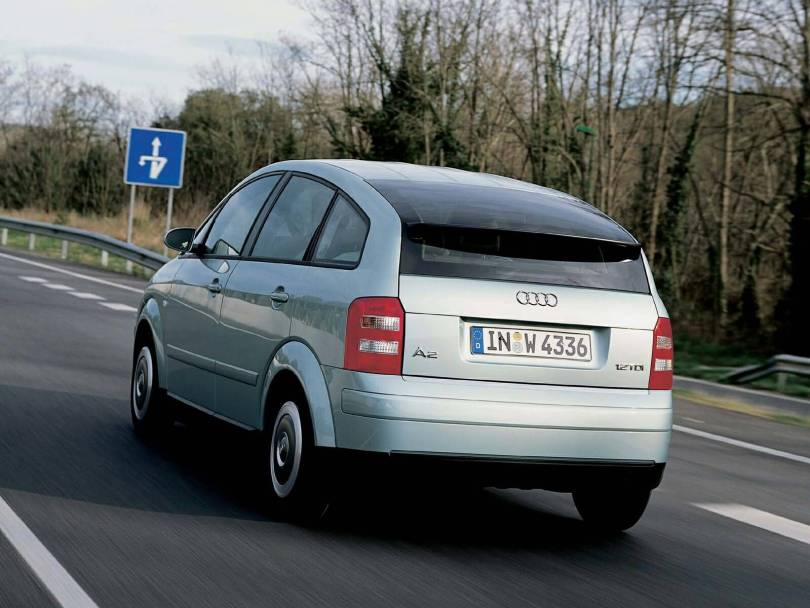 Back side view of Audi A2 Car