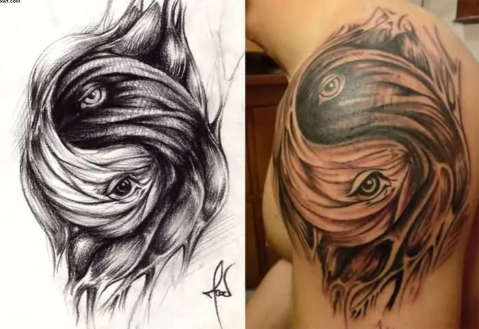 Beauiful Living Yin Yang Tattoo Photos Of Face