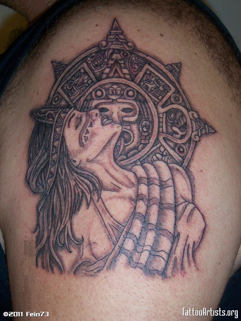 Beautiful Black Color Ink Aztec Girl Tattoo Design On Shoulder For Boys Made By Expert