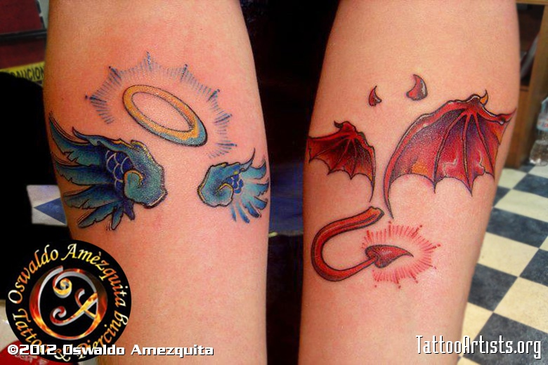 Beautiful Blue Yellow Red And Black Color Ink Angel n Devil Wings Tattoo Design For Girls