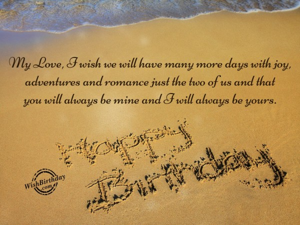 Beautiful Romantic Happy Birthday Quotes For Lovely Sweetheart Beach Image