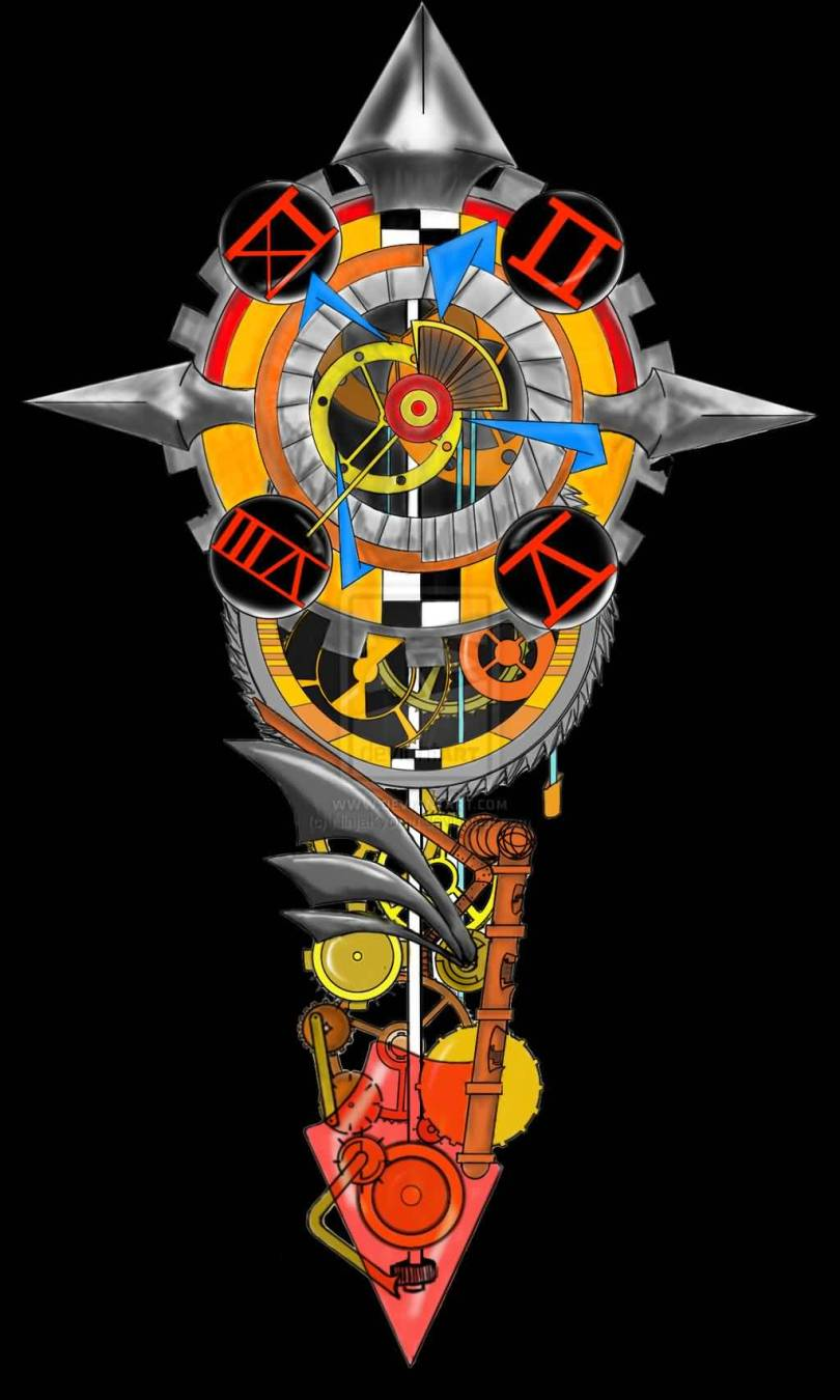 Beautiful Yellow Blue Red And Black Color Ink Steampunk Clock Tattoo Concept For Boys