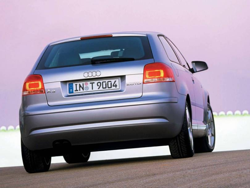 Beautiful back side view of silver Audi A3 car