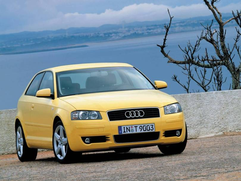 Beautiful front side view yellow Audi A3 car
