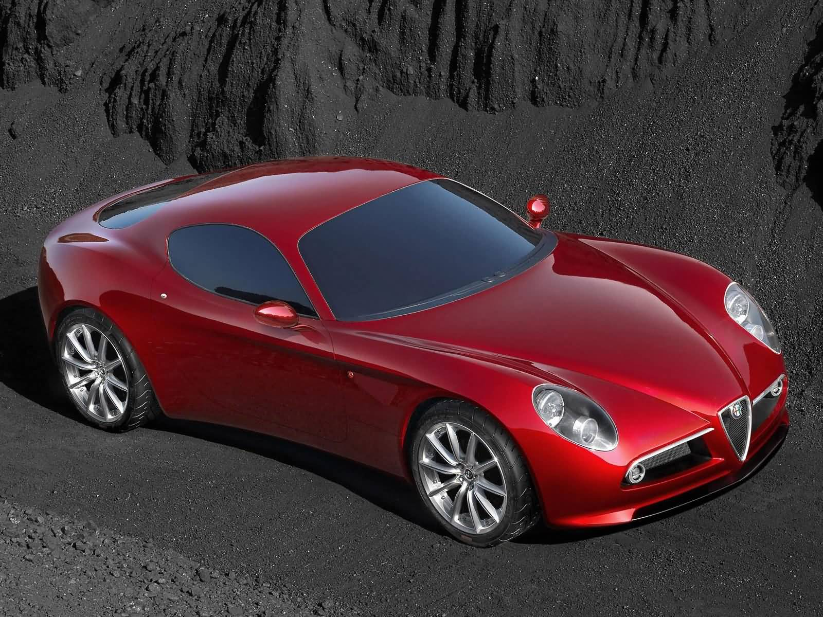 Beautifull red Alfa Romeo 8C Competizione Car  upper side