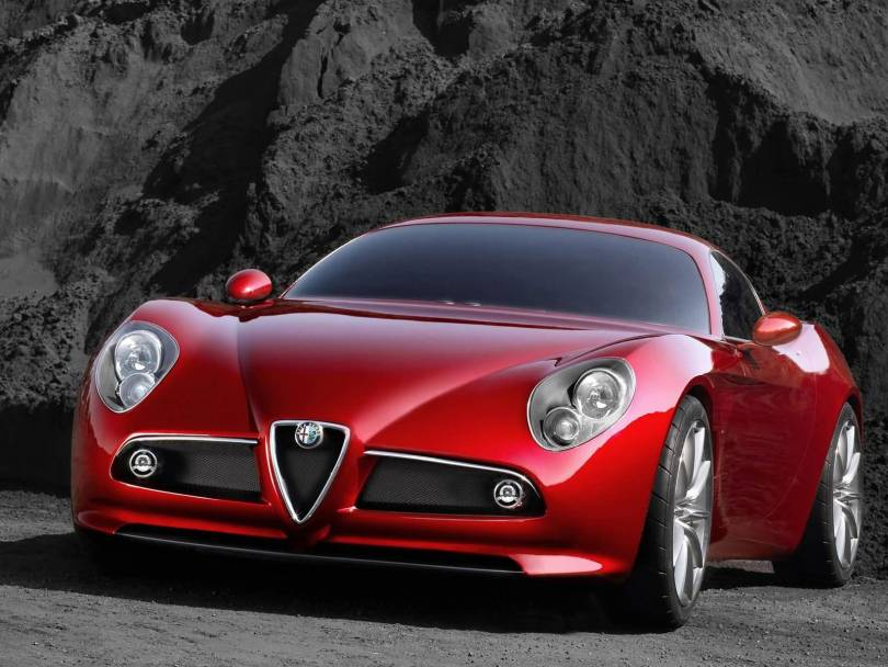 Beautiful red colour Alfa Romeo 8C Competition Car