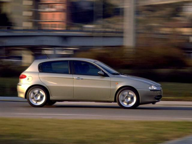 Beautiful silver Alfa Romeo 147 Car of high speed on the road