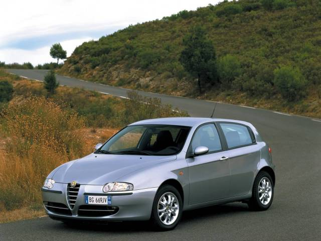 Beautiful silver Alfa Romeo 147 Car on the road