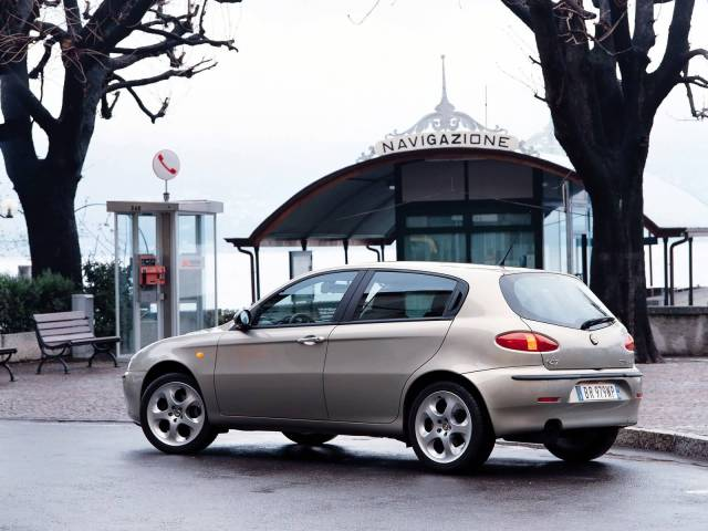 Beautiful silver color Alfa Romeo 147 Car on the road