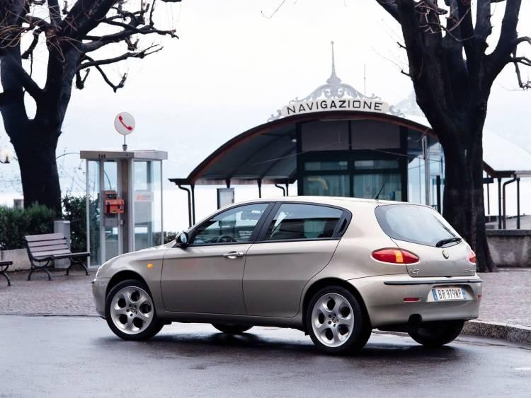 Beautiful silver color Alfa Romeo 147 Car on the road