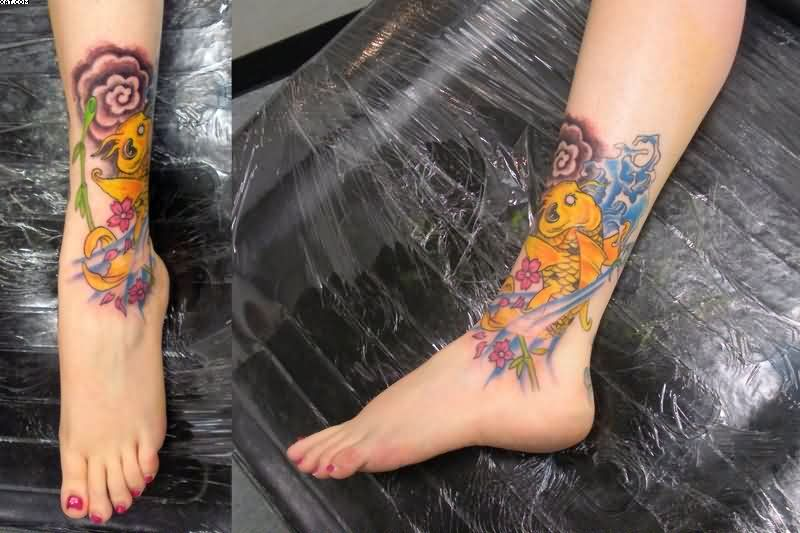 Best Ever Green And Yellow Color Ink Aqua Tattoo On Ankles For Girls