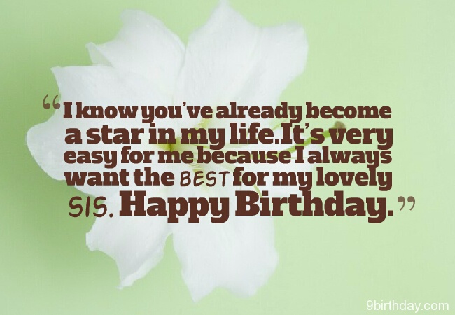 Best For My Lovely Sis Happy Birthday Wishes Message