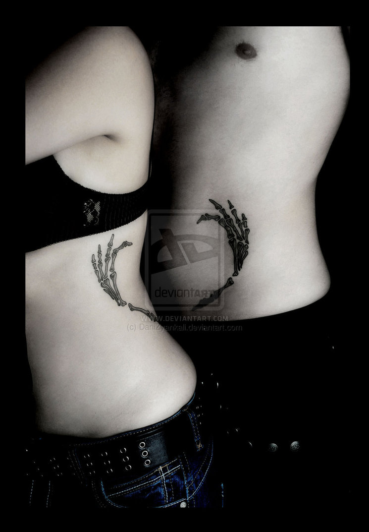 Brilliant Black Color Ink Couple Tattoo Picture For Couple