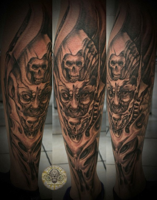 Brilliant Black Color Ink Demon Face Horror Tattoo Design For Boys