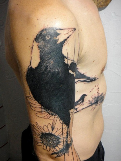 Brilliant Black Color Ink Xoil Crow Tattoo On Arm For Boys