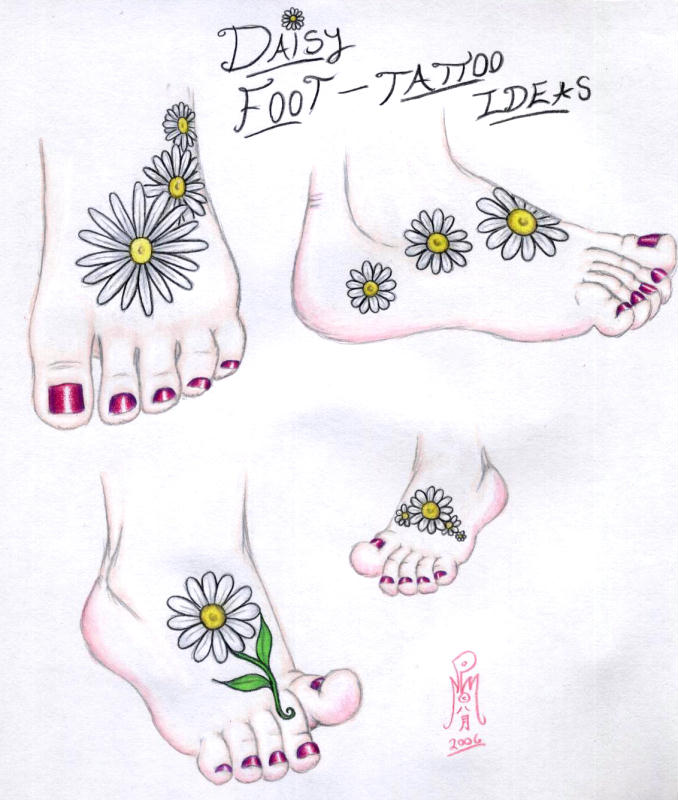 Brilliant Yellow And White Color Ink Daisy Foot Tattoo Ideas For Girls