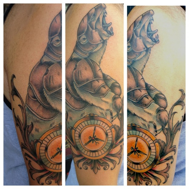 Brilliant Yellow Blue And Brown Color Ink Golden Compass Tattoo Design For Boys