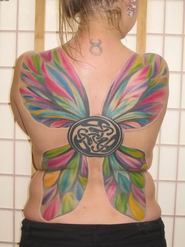 Butterfly Wings Tattoo On Back With Color Ink