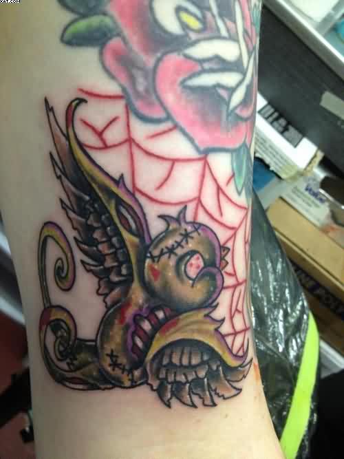 Cartoon Zombie Bird Tattoo