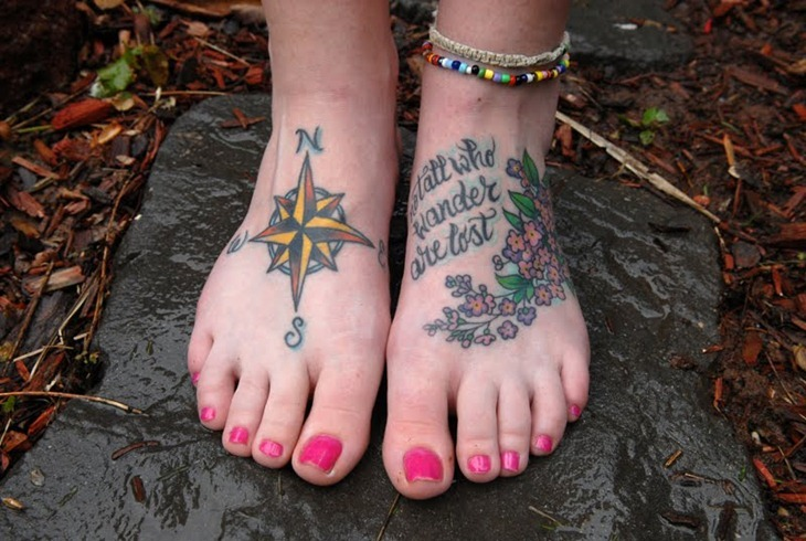 Chaming Green Yellow Black And Red Color Ink Compass Tattoo On Foot For Girls