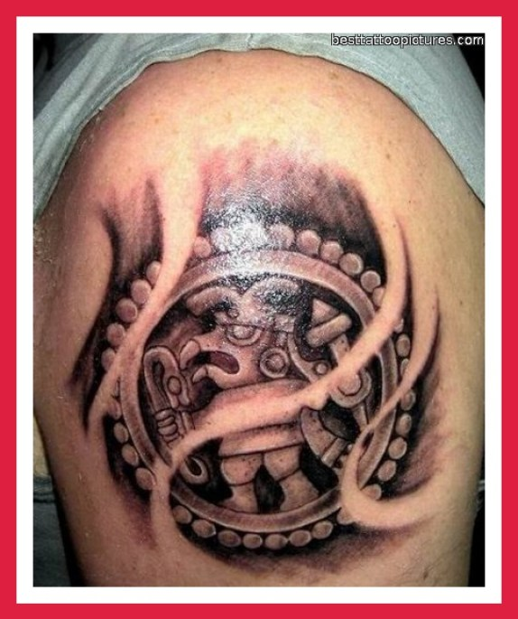 Charming Black Color Ink Aztec Biceps Tattoo For Boys Only
