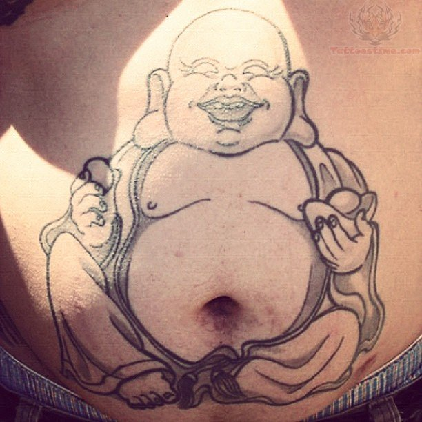 Charming Black Color Ink Buddha Tattoo On Belly Button For Boys