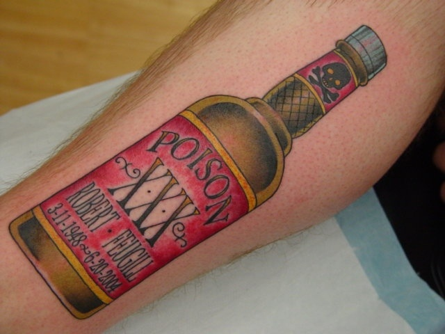 Charming Red Black And Yellow Color Ink Poison Bottle Tattoo On Arm For Boys