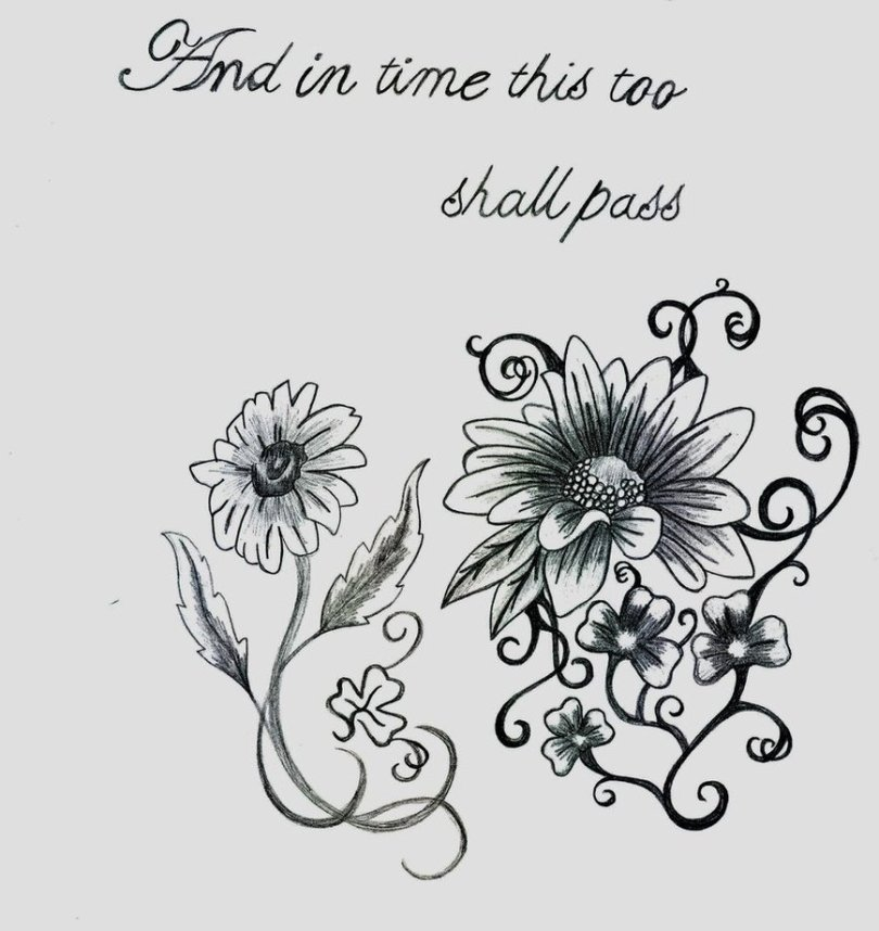 Cool Black Color Ink Daisy Tattoo Designs For Girls